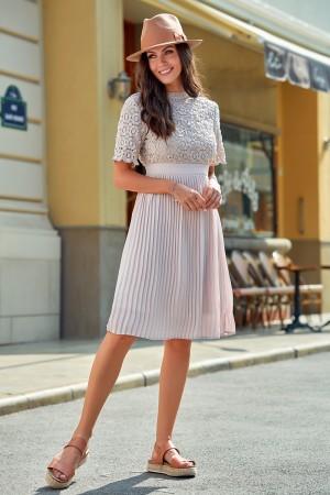 Blush Short Sleeves Round Neckline Gathered Waist Polyester Midi Dress