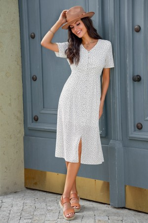 White Short Sleeves V Neckline Polyester Summer Midi Dress