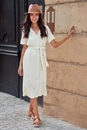White Short Sleeve Collar Neckline Cotton Midi Dress with Buttons