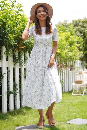 Blue Short Sleeves Round Neck Cotton Spring Summer Maxi Dress