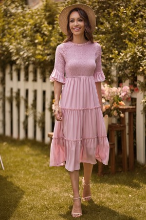 Pink Short Sleeves Round Neck Polyester Spring/Summer Maxi Dress
