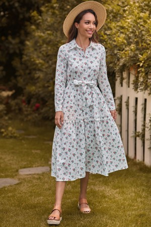 Floral Long Sleeves Classic Collar Cotton Spring Summer Midi Dress