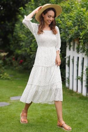 White Half Sleeves Square Neckline Polyester Maxi Dress