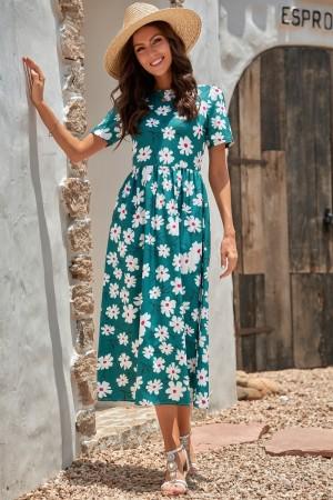 Dark Green Floral Short Sleeves Round Neckline Polyester Spring/Summer Maxi Dress