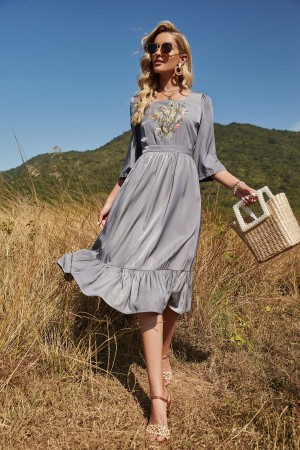 Grey 3/4 Length Sleeves Square Collar Embroidery Polyester Midi Dress