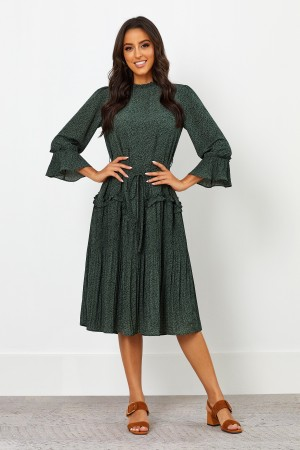 High Round Neckline Long Sleeves Ruffle And Pleating Midi Dress