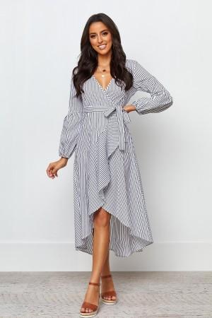 V Neckline Long Sleeves Tie Waist Wrap Style Midi Dress