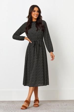 Round Shirred Neckline Long Sleeves Polyester Midi Dress