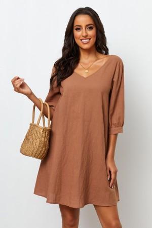 V Neckline Half Sleeves With Cuff Short Dress