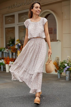 Two Pieces Short Sleeves Round Neckline Polyester Spring Summer Maxi Dress