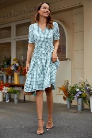 Plaid Short Sleeves V-Neckline Spring Summer Polyester Midi Dress
