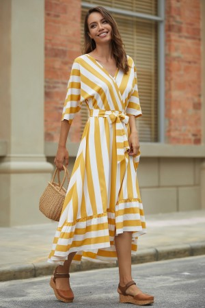 Yellow Half Sleeves V-Neckline Polyester Spring Summer Maxi Dress