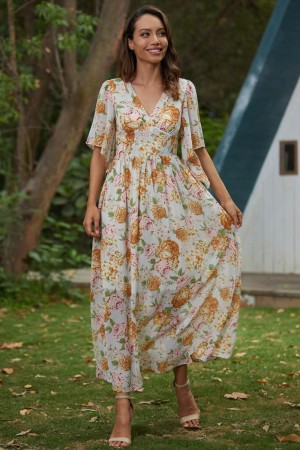 Floral Print Layer Short Sleeves V-Neckline Polyester Maxi Dress