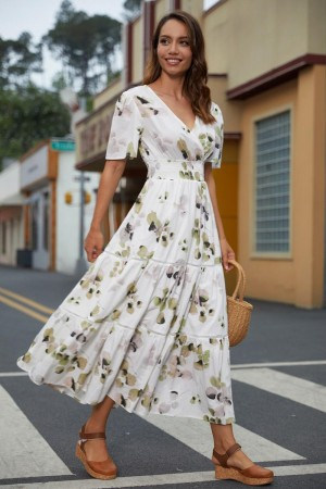 Floral Tie Back Short Sleeves V-Neckline Cotton Maxi Dress