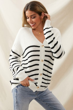 Casual Loose Knit Striped Long Sleeves V Neckline Buttons Cardigan Jacket
