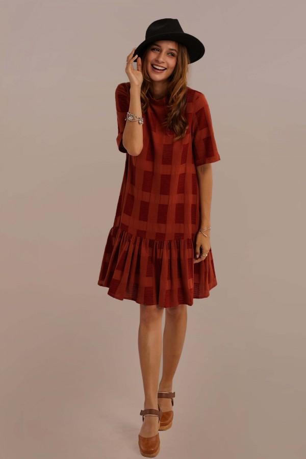 Rust Half Sleeve Round Neck Natural Cotton Plaid Mini Dress With Pocket