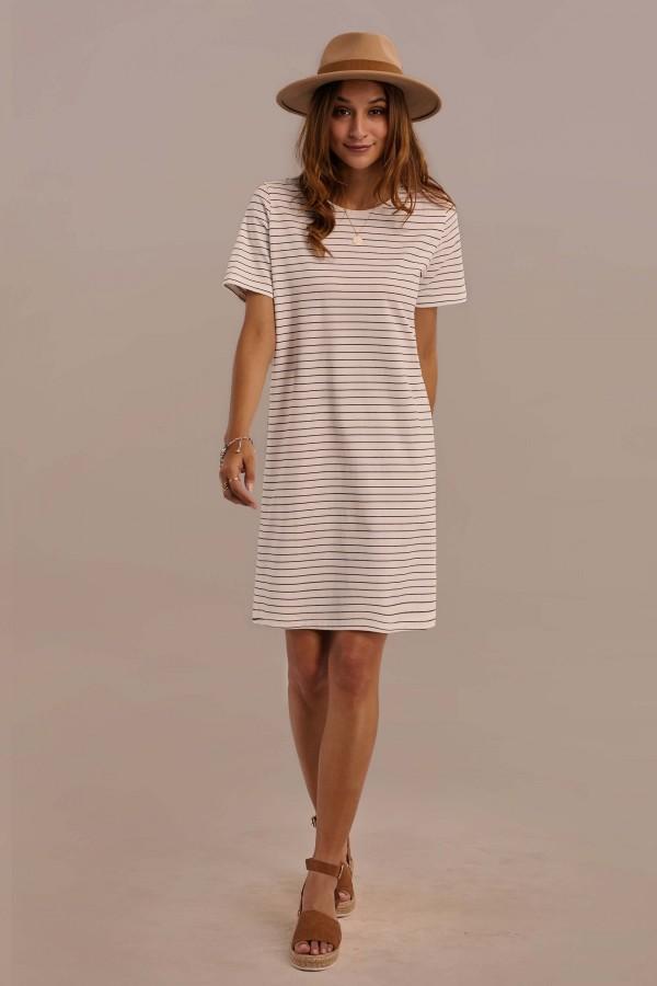 Short Sleeve Round Neck Nature Stripe Dress