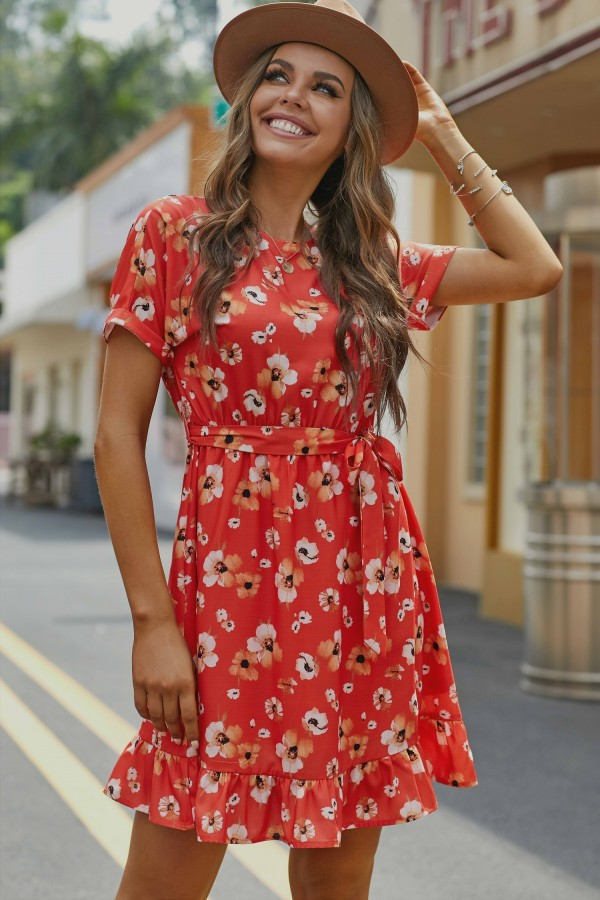 Rust Short Sleeves Round Neckline Rayon Floral Midi Dress