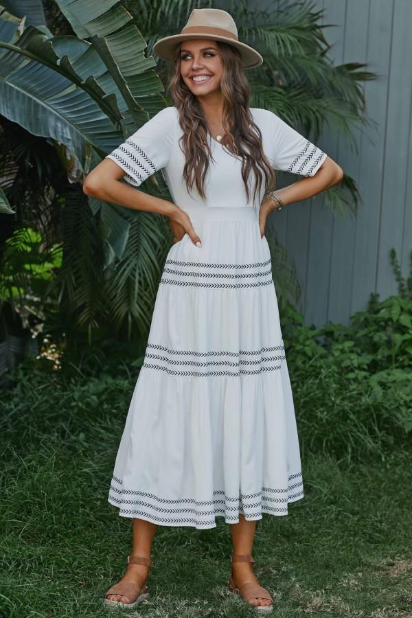 White Half Sleeves V-neck Polyester Summer Maxi Dress