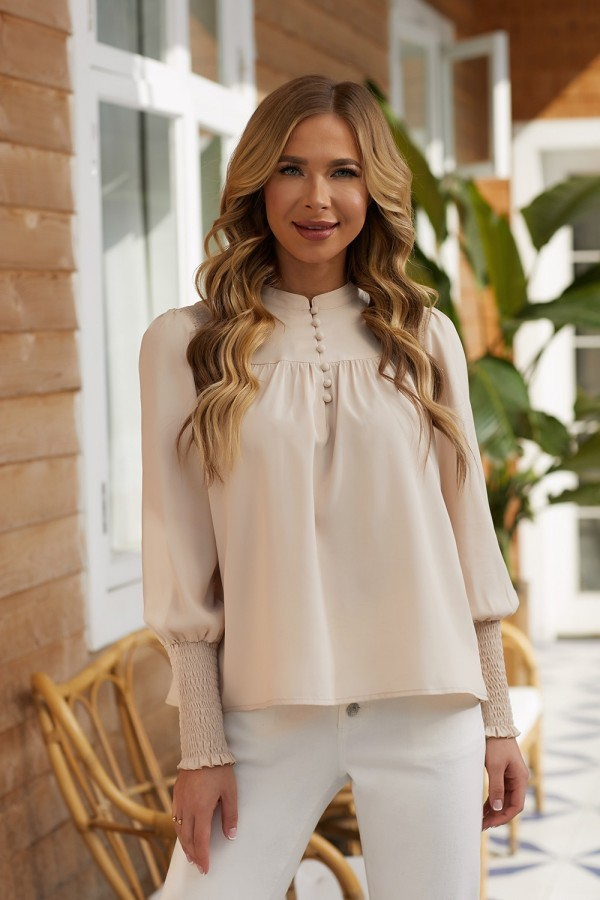 Ivory Long Sleeves Buttoned Neckline Polyester Tops