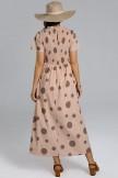 Blush Short Sleeve Round Neck Maxi Dress With Pockets